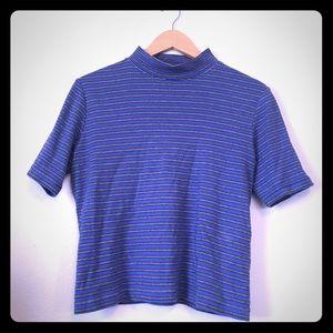 Cotton striped mock neck t shirt